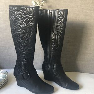 Taryn Rose Women's Black  Tall Leather Boots